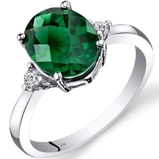 Oravo 14k White Gold 2 1/2ct TGW Created Emerald Oval-cut 1/10ct TDW Diamond Ring