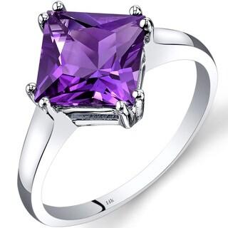 Oravo 14k White Gold 2ct TGW Amethyst Princess-cut Solitaire Ring
