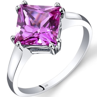 Oravo 14k White Gold 3 1/4ct TGW Created Pink Sapphire Princess-cut Solitaire Ring