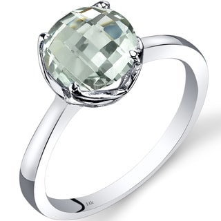 Oravo 14k White Gold 1 3/4ct TGW Green Amethyst Checkerboard-cut Solitaire Ring