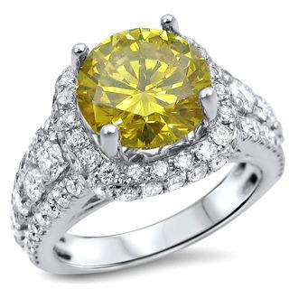 Noori 18k White Gold 3 3/5ct TDW Canary Yellow Diamond Engagement Ring (F-G, SI1-SI2)