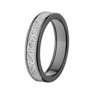 5-millimeter Flat Black Zirconium Meteorite Ring