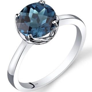 Oravo 14k White Gold 2 1/4ct TGW London Blue Topaz Checkerboard-cut Solitaire Ring