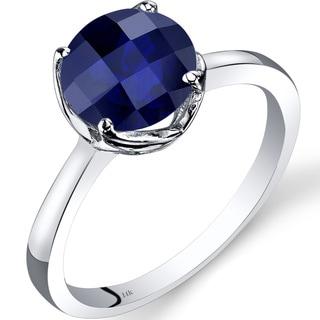 Oravo 14k White Gold 2 1/2ct TGW Created Sapphire Checkerboard-cut Solitaire Ring
