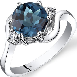 Oravo 14k White Gold 2 1/4ct TGW London Blue Topaz 1/10ct TDW Diamond 3 Stone Ring