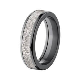 Men's 6-millimeter Domed Black Zirconium Meteorite Ring