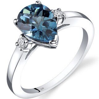 Oravo 14k White Gold 2 1/4ct TGW London Blue Topaz 1/10ct TDW Diamond Tear Drop Ring