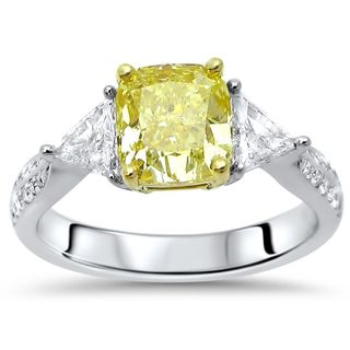 Noori 18k White Gold 2ct TDW Yellow Diamond GIA Certified Engagement Ring (F-G, SI1-SI2)