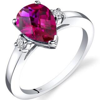 Oravo 14k White Gold 2 1/2ct TGW Created Ruby 1/10ct TDW Diamond Tear Drop Ring