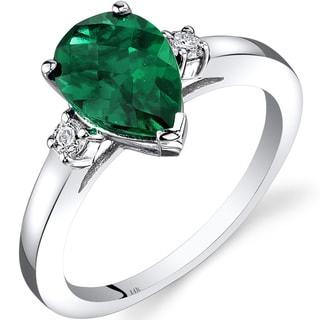 Oravo 14k White Gold 1 3/4ct TGW Created Emerald 1/10ct TDW Diamond Tear Drop Ring