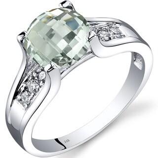 Oravo 14k White Gold 1 3/4ct TGW Green Amethyst 1/8ct TDW Diamond Cathedral Ring