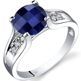 Oravo 14k White Gold 2 1/2ct TGW Created Sapphire 1/8ct TDW Diamond Cathedral Ring