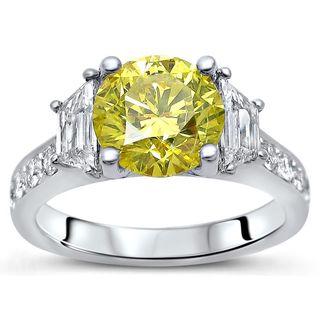 Noori 18k White Gold 2 5/8ct TDW Yellow Diamond Trapezoid Engagement Ring (F-G, SI1-SI2)