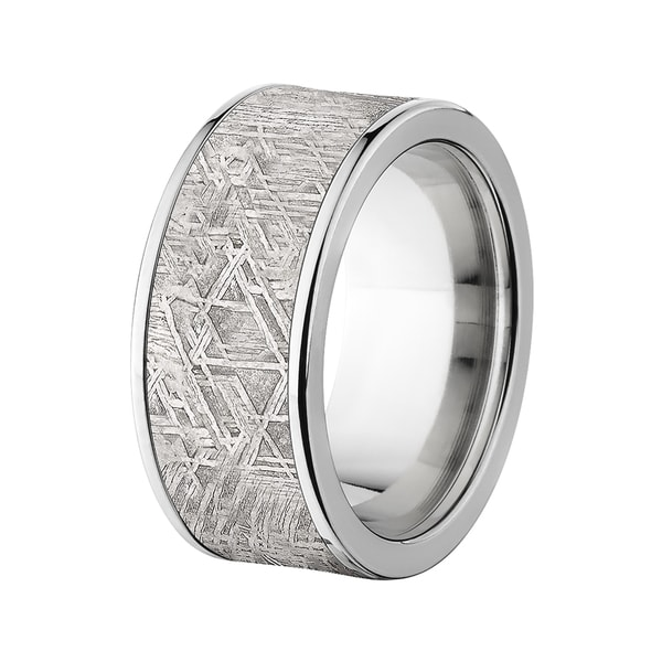 Flat Titanium 10mm Meteorite Ring