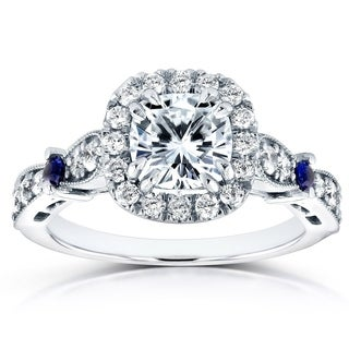 Annello 14k White Gold 1 3/5ct TCW Brilliant Moissanite Sapphire and Diamond Halo Antique Engagement Ring (G-H, I1-I2)