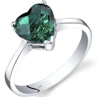 Oravo 14k White Gold 1 1/2ct TGW Created Emerald Heart Solitaire Ring