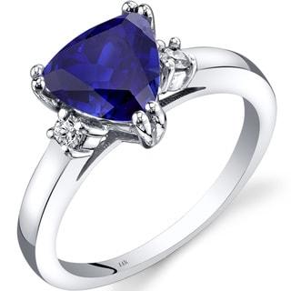 Oravo 14k White Gold 2 1/2ct TGW Created Sapphire Trillion-cut 1/10ct TDW Diamond Ring