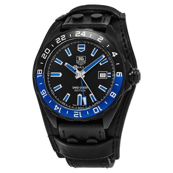Tag Heuer Men's WAZ201A.FC8195 'Formula 1' Black Dial Black Leather Strap Swiss Automatic David Guetta Edition Watch