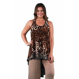 24/7 Comfort Apparel Women's Plus Size Animal/Paisley Print Racerback Tunic