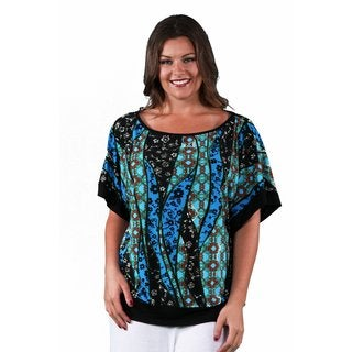 24/7 Comfort Apparel Women's Plus Size Abstract Dolman Top
