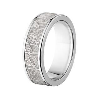 Titanium Meteorite Flat 7-millimeter Ring