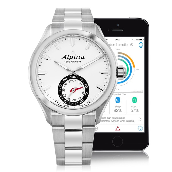 Alpina Men's AL-285S5AQ6B 'Smart Watch' Silver Dial Stainless Steel Multifunction Motionx Swiss Quartz Watch