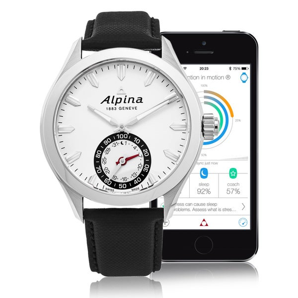 Alpina Men's AL-285S5AQ6 'Smart Watch' Silver Dial Black Leather Strap Multifunction Motionx Swiss Quartz Watch