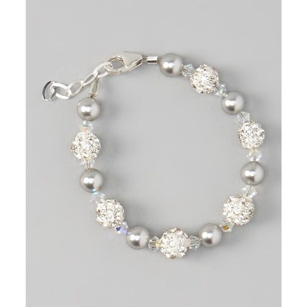 Swarovski Grey Pearls and Clear Crystals with White Pave Beads Bracelet