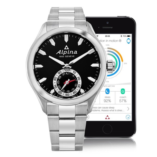 Alpina Men's AL-285BS5AQ6B 'Smart Watch' Black Dial Stainless Steel Multifunction Motionx Swiss Quartz Watch