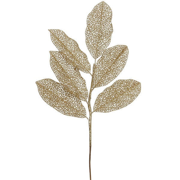 Gold Glitter 22-inch Magnolia Sprays (Pack of 12)