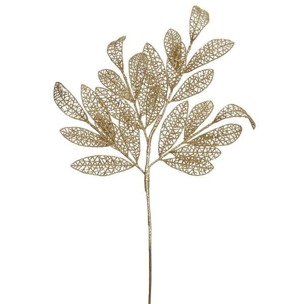 Vickerman Gold Glitter Mesh 22-inch Bay Leaf Spray (Pack of 12)
