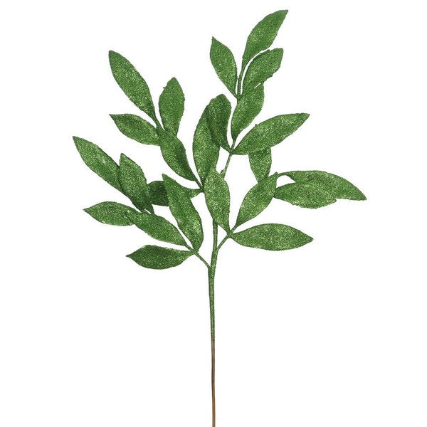 22-inch Green Glitter Bay Leaf Spray Picks (Pack of 12)