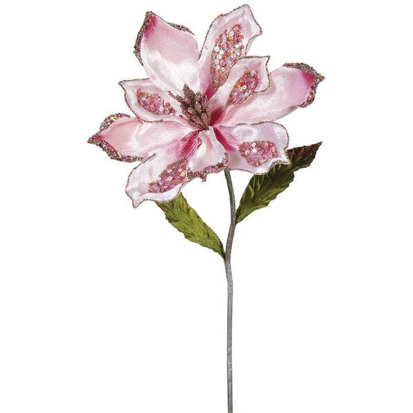 Vickerman Pink 22-inch Magnolia with Flower (Pack of 3)