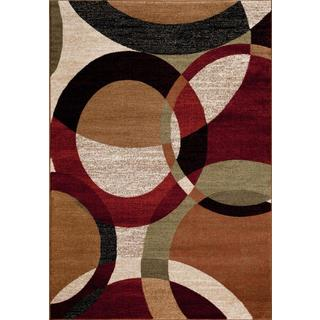Persian Rugs Circled Abstract Multi Colored with Black Area Rug (9'0 x 12'6)