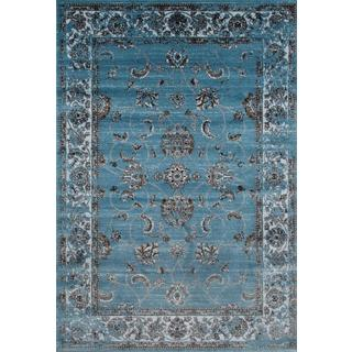 Persian Rugs Floral Oriental Multicolor Blue Background Area Rug (7'10 x 10'6)