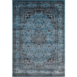Persian Rugs Antique Styled Multi Colored Blue Base Area Rug (7'10 x 10'6)