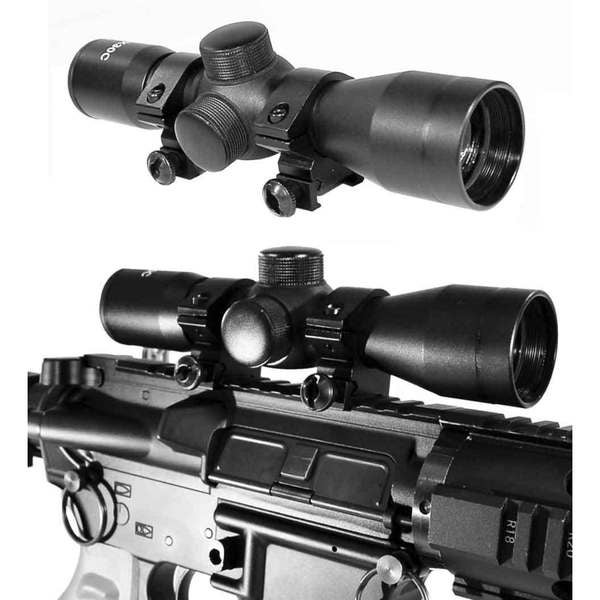 Trinity Black Aluminum 4x30 Scope With P4 Sniper Reticle for Tactical Paintball Markers