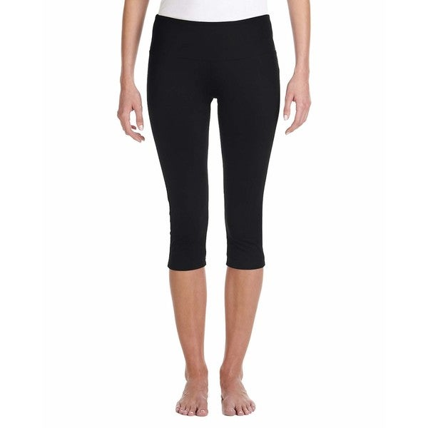 Capri Women's Black Cotton/Spandex Slim-fit Leggings