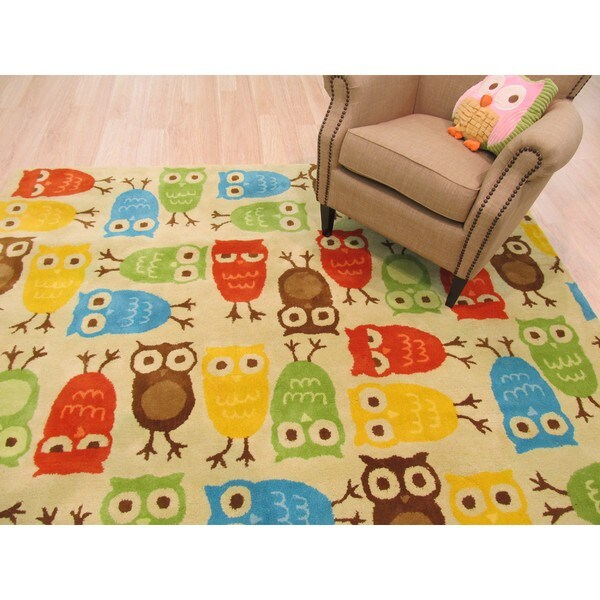 EORC Kid's Beige Wool Hand-tufted Owl Area Rug (5' x 8')
