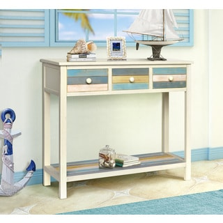 Gallerie Decor Seaside White/Blue/Yellow Wood Console Table