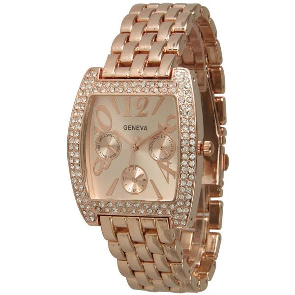 Olivia Pratt Rounded Rectangular Rhinestone Bezel Basket Link Bracelet Watch