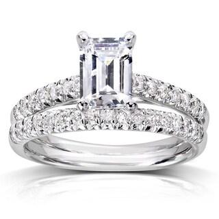 Annello 14k White Gold 1ct Emerald-cut Moissanite and 1/3ct TDW Diamond Bridal Set (G-H, I1-I2)