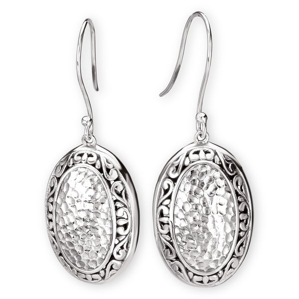 Avanti Sterling Silver Oval Shape Hammered Design Earrings