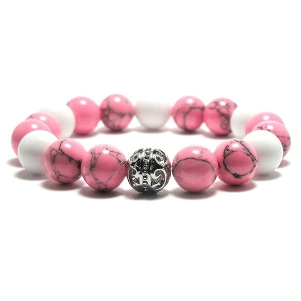 AALILLY Women's 10mm White, Pink and Black Natural Beads Stretch Bracelet 19896084
