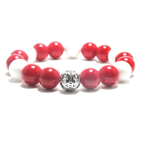AALILLY Women's 10mm White and Red Natural Beads Stretch Bracelet 19896100