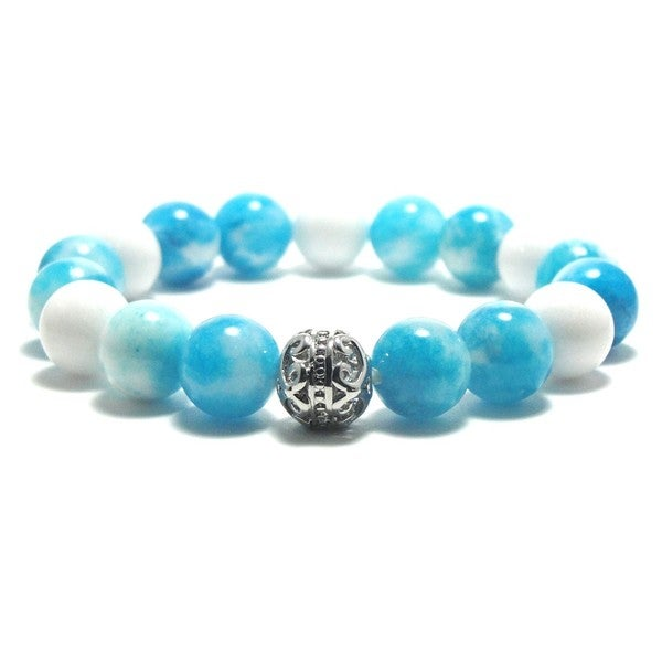 AALILLY Women's 10mm Sky Blue and White Texture Natural Beads Stretch Bracelet 19896118