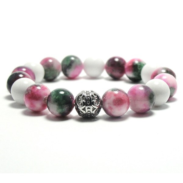 Women's 10mm White, Pink and Green Natural Beads Stretch Bracelet 19896120