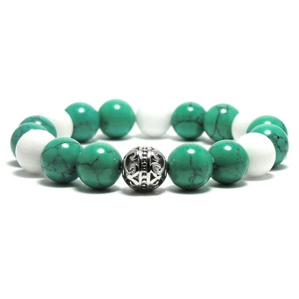 Women's 10mm White and Green Natural Beads Stretch Bracelet 19896184