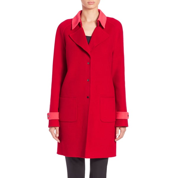 Elie Tahari Lisa Red Wool Coat