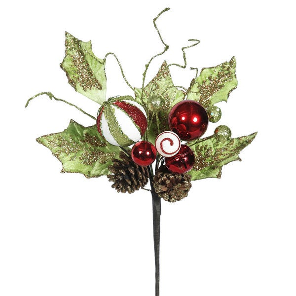 Red 22-inch Jingle Bell Holly Sprays (Pack of 3)